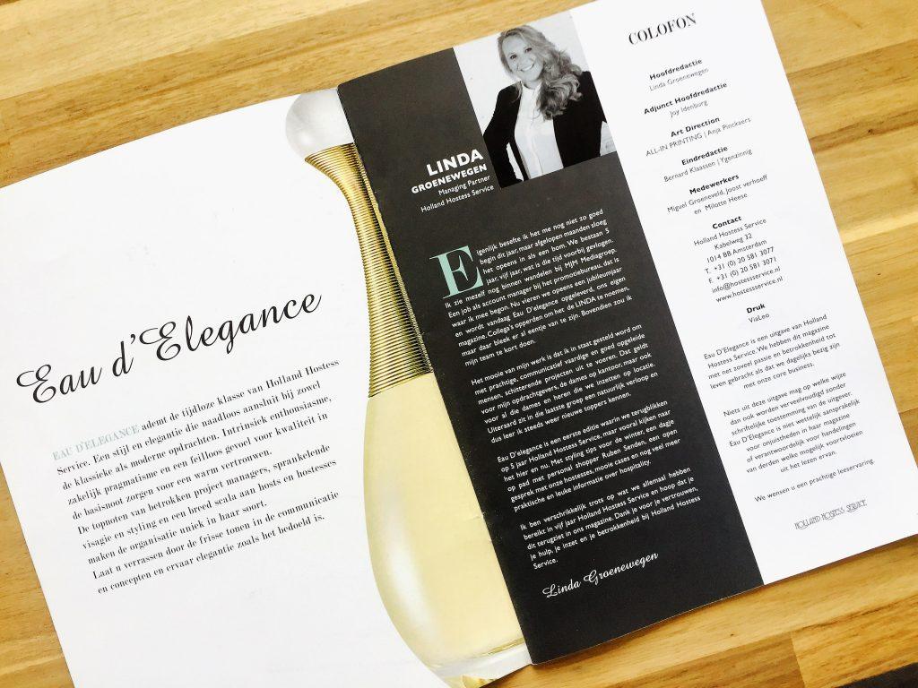 Eindredactie Eau d'Elegance Holland Hostess Service magazine