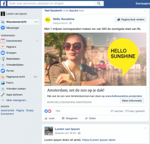 Hello Sunshine campagne Interim marketeer